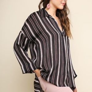 Striped Satin Long Sleeve V-Neck Collared Top with